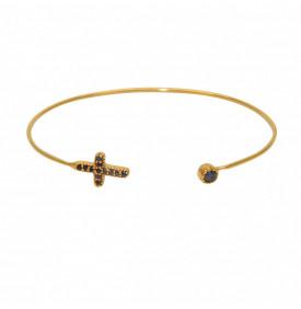 Bracelet Jonc Dore Croix et...