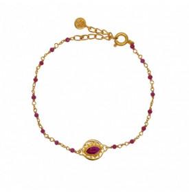 Bracelet Dore Rubis et Oeil...