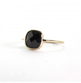 bague pierre carrée noire