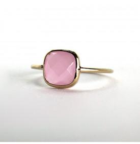 bague pierre carrée rose